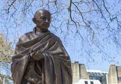 A statue of Mahatma Gandhi situated on Parliament Square in London.