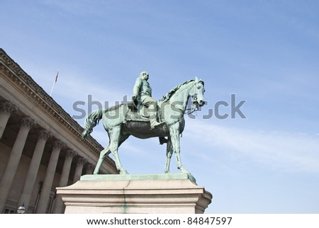 A Statue of Prince Albert Husband of Queen Victoria outside St Georges Hall Liverpool
