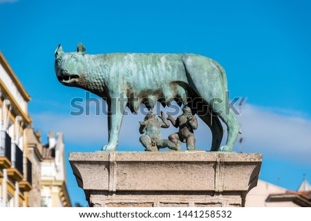 A statue of Romulus and Remus from Roman mythology in Merida, Spain #1441258532