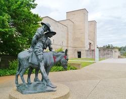 A statue of Simpson and his donkey field ambulance in Canberra in Australia