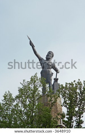 A statue of Vulcan overlooking the city on Red Mountain in Birmingham, Alabama.