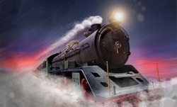 A steam locomotive runs at high speed at night while smoke gushes out of its chimney, the stars are in the sky