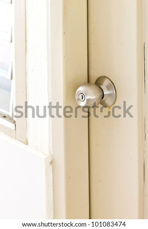 A steel door knob are locked