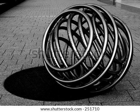 A steel tube ball in Adelaide, on the river bank...