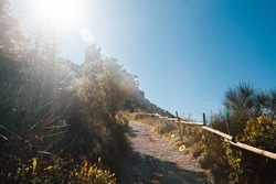 A steep path to Queribus Cathar castle, France