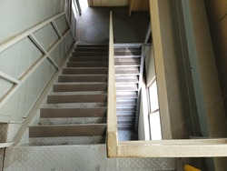 A steep stairs in a factory