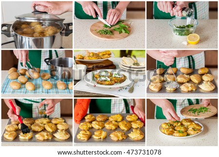 A Step by Step Collage of Making Australian Crash Hot Potatoes with Chives and Sour Cream and Herb Sauce #473731078