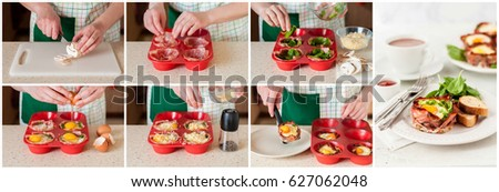 A Step by Step Collage of Making Baked Bacon and Egg Cups with Spinach and Cheese #627062048