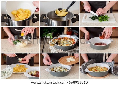 A Step by Step Collage of Making Baked Ricotta and Spinach Stuffed Conchiglioni with Tomato Sauce #568933810