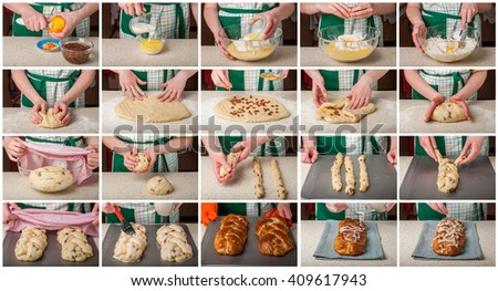 A Step by Step Collage of Making Braided Sweet Bread with Raisins and Orange Zest Topped with Sugar Glaze and Flaked Almonds #409617943