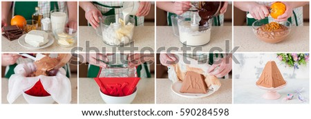 A Step by Step Collage of Making Chocolate Easter Quark Dessert, Paskha #590284598