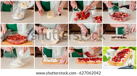 A Step by Step Collage of Making Curd Tart with Vanilla Roasted Strawberries #627062042
