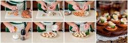 A Step by Step Collage of Making Little Tarts of Smoked Salmon, Cottage Cheese and Quail Egg