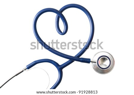A stethoscope in the shape of a heart , isolated on white background