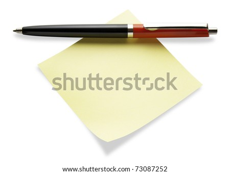 A stick yellow post-it pad with a pen