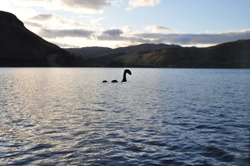 A sticker of Nessie, the Loch Ness monster on the window pane