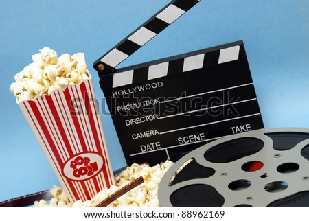 A still life of things related to the film industry. - stock photo