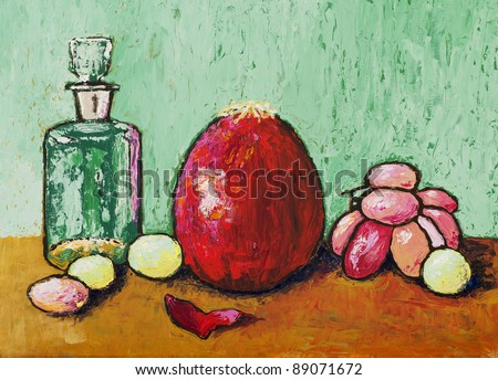 a still life painting, with a red onion and grapes