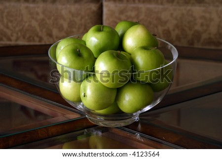 a still life series  with Green Apples in a glass bowl