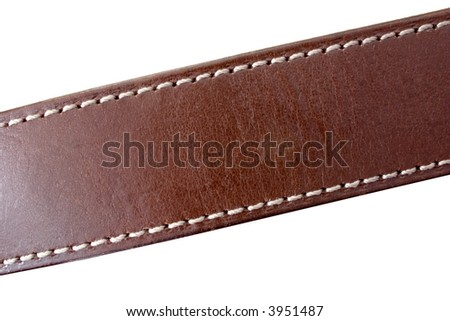 a stitched leather belt on white