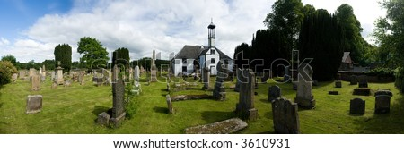A stitched panorama of 7 photos of Dalserf Church, Lanarkshire, Scotland