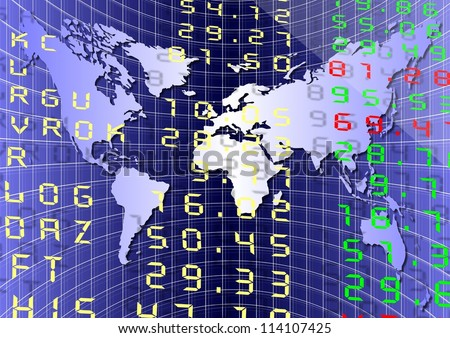 A stock exchange board with a graph and world map / Global market