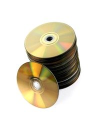 A stock of compact discs isolated against a white background