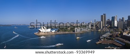 A stock photo of Sydney Harbor as seen from the top of the Southern Pylon in the afternoon.