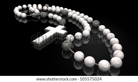 A stone beaded rosary interspersed with marble beads and a stone and marble crucifix