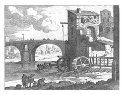 A stone bridge over a river and a water mill on the right. In the foreground a woman is standing by a packed donkey. Next to that a woman who does the laundry on her knees