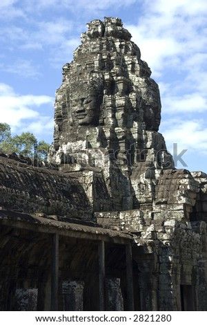 A stone face from the Bayon temple, Angkor Wat, Cambodia see more on gallery