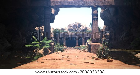 A stone path through an arch with pillars to the ruins of an ancient sacred temple. Beautiful photorealistic 3D illustration. Calming landscape. Authentic scene. Foto stock ©