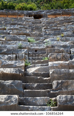 a stone staircase leading up to the amphitheater