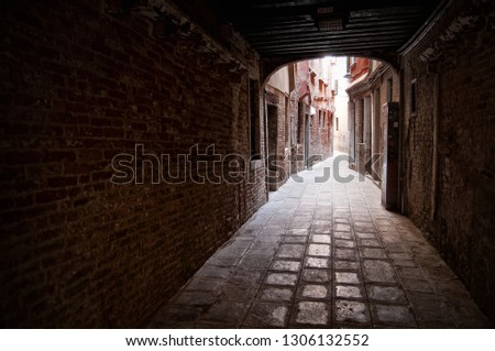 A stone tunnel leading to an old winding street. An alley way in Venice, Italy. The perspective is from inside the tunnel looking out into the antique alley.