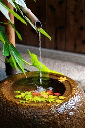 A stone washbasin ( chozubachi ) by a Japanese tea room, with a bamboo pipe supplying water & colorful maple leaves fallen on the clear water ~ Autumn scenery of a waterbowl in a garden in Kyoto Japan