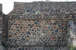 A stones wall of the great Teotihuacan pyramid. This photo was taken on May 25 2010.