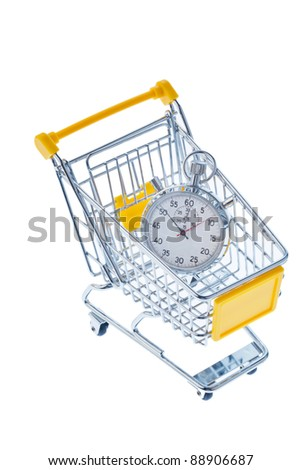 a stopwatch is in a shopping cart, photo icon for opening times and working hours in retail.