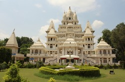 A 7-storey high temple, located in Mathura, India.