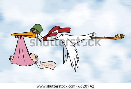 A stork delivering a special delivery to an unknown destination. But we do know it's a girl.
