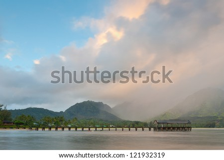 A storm passing by the famous Hanalei Pier.