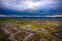 A stormy afternoon sky in Castle Rock, Colorado over suburban neighborhood