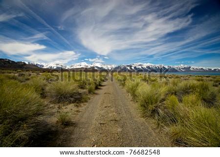 A straight path cuts through the wilderness of eastern California beside Mono Lake toward Yosemite National Park.