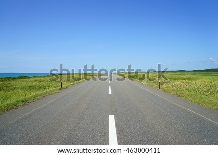A straight road in Hokkaido Nicknamed the Japan Sea Orolon Line #463000411