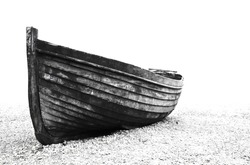 A stranded boat on Brighton beach