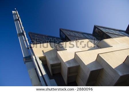 A strange perspective under a strange modern church
