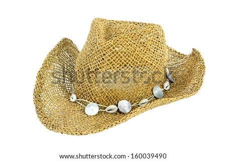 A straw beach hat isolate on white background