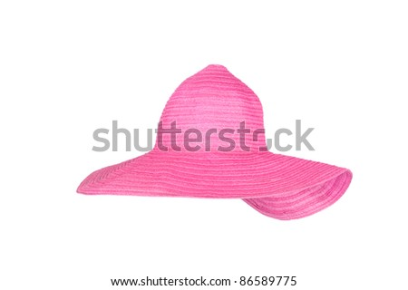 A straw beach sun hat isolated on white