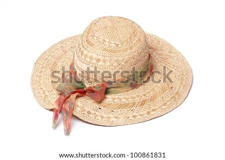 a straw hat, lady, to keep the sun