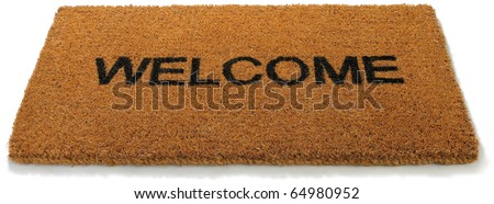 a  straw hessian welcome mat matt isolated on a white background ストックフォト ©