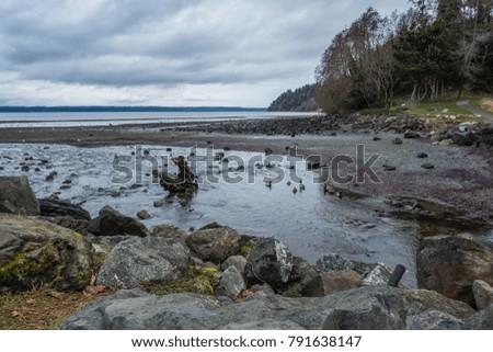 A stream flows across the Des Moines, Washington shoreline into the Puget Sound.